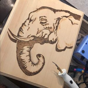 8x10  wall plaque, wood burned elephant.
